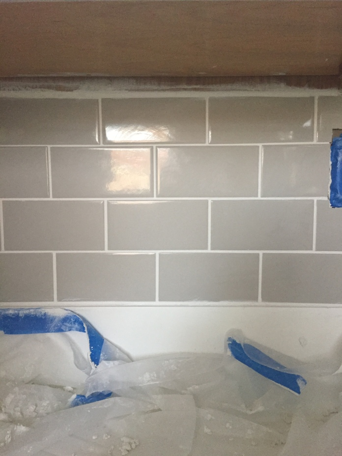 Bright Tender Gray Subway Tile, Bright White Grout